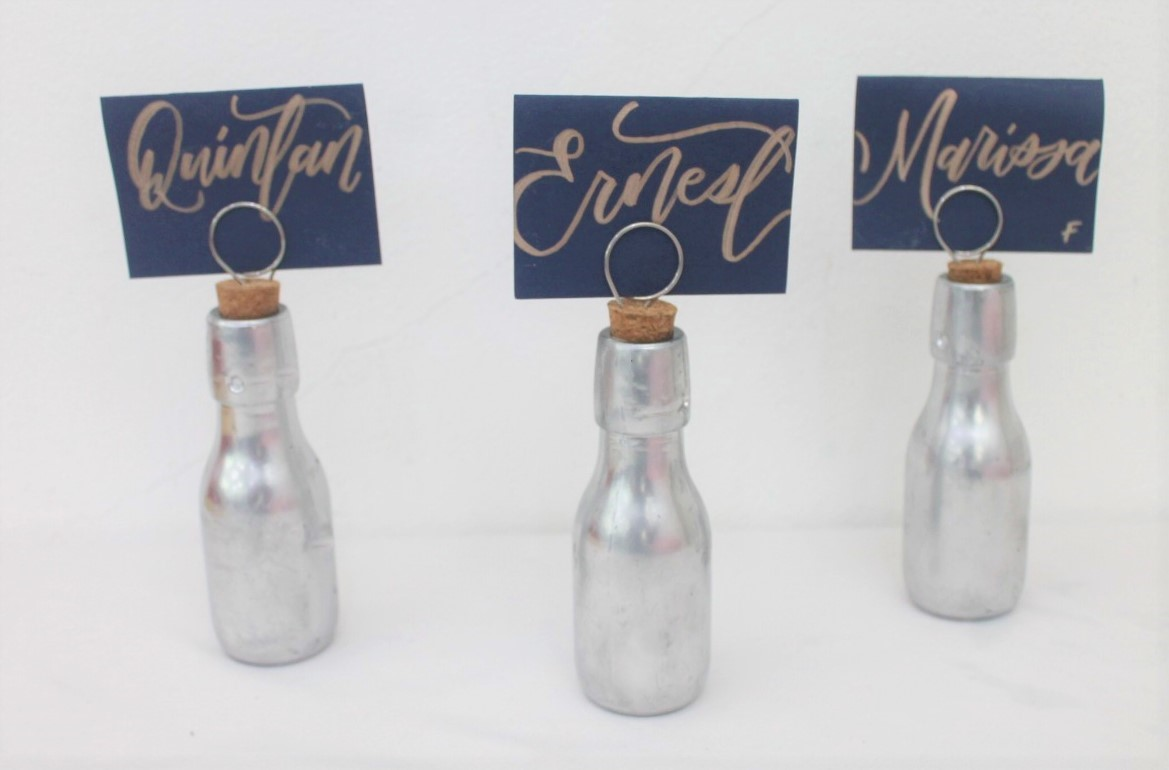 26 Table Numbers With Silver Color Mini Bottle