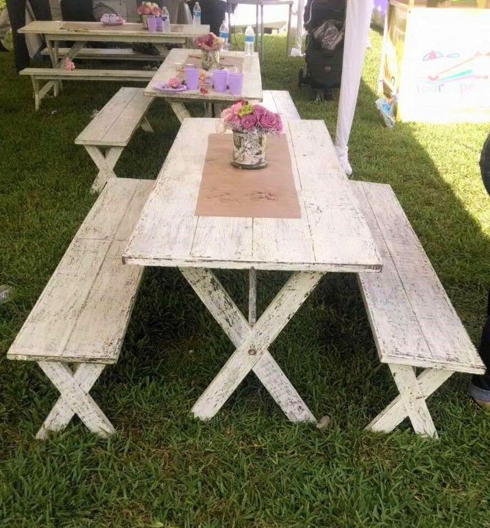 3 White Vintage Long Tables