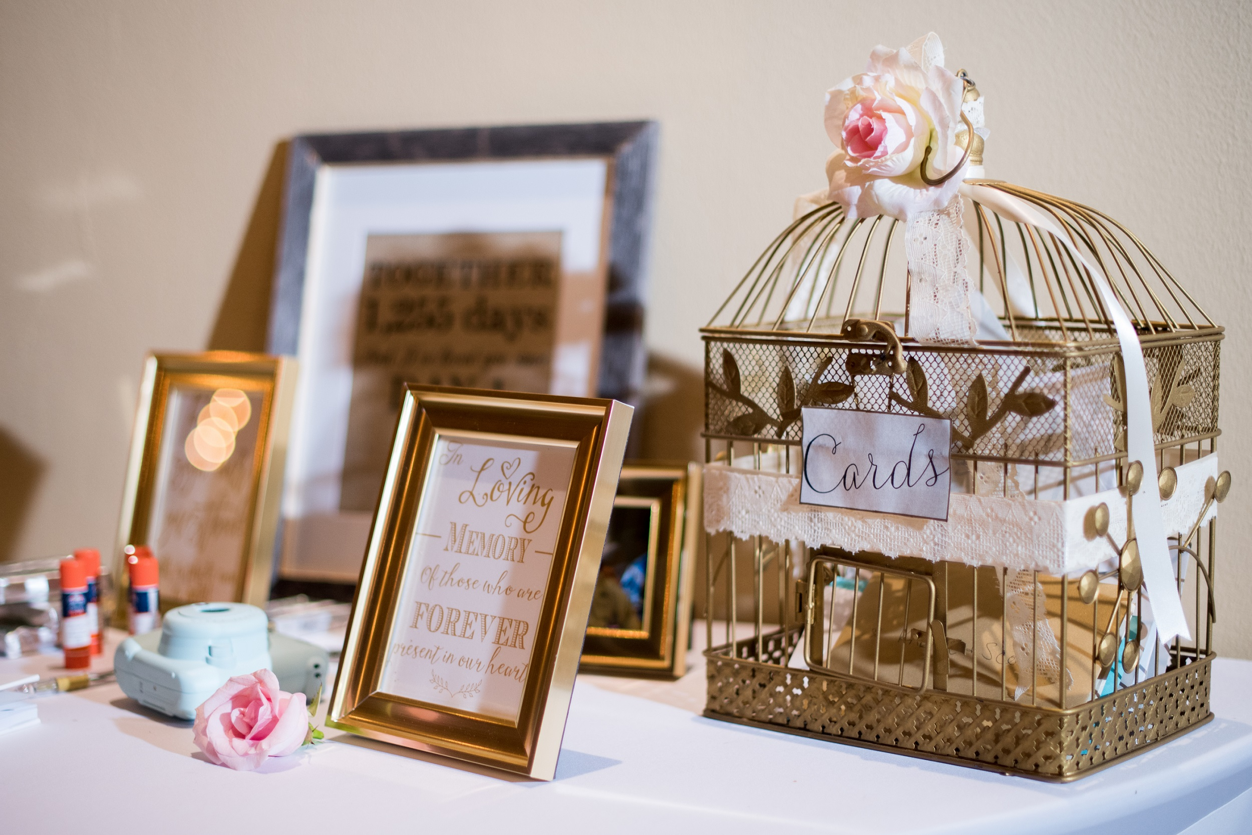 Gold Wedding Birdcage Card Holder