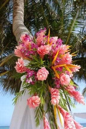 Hanging Corsage With Pink Hawaiians Bird Of Paradise And Touch Of Magenta Mattiolas