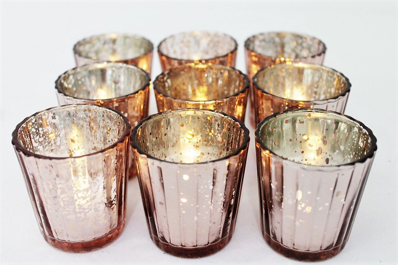 Rose Gold Mercury Texture Votive Holder And LED Votive