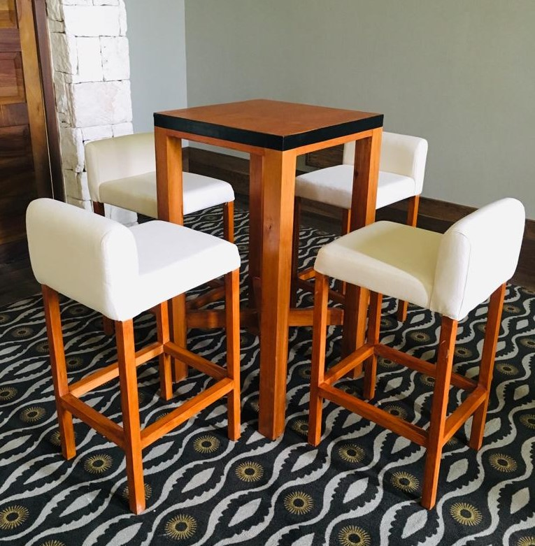Wooden Cocktail Set Of High Top Table And 4 Tall Chairs Brown