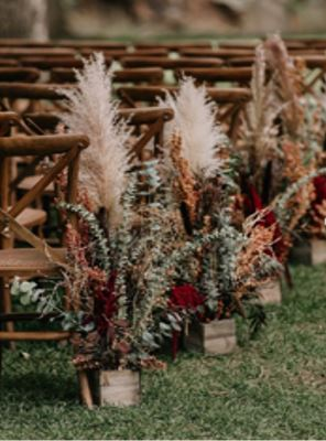 Aisle Arrangement With Pampas Grass, Snapdragon And Eucalyptus.JPG