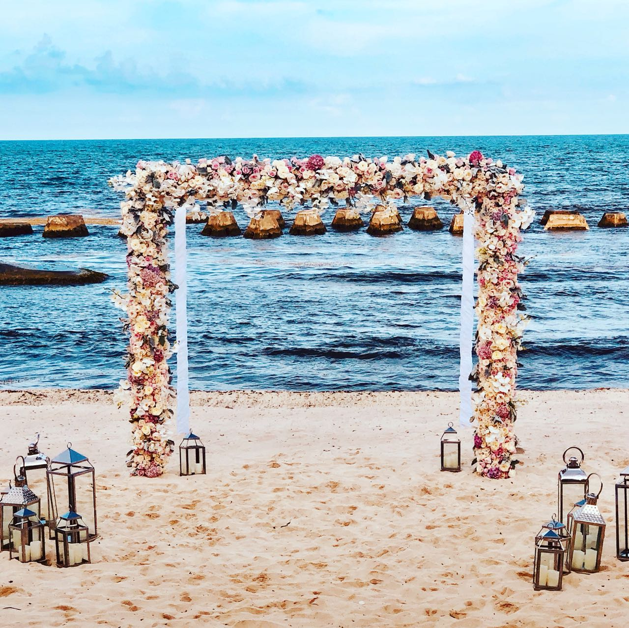 Beach Gazebo Floral Set Up