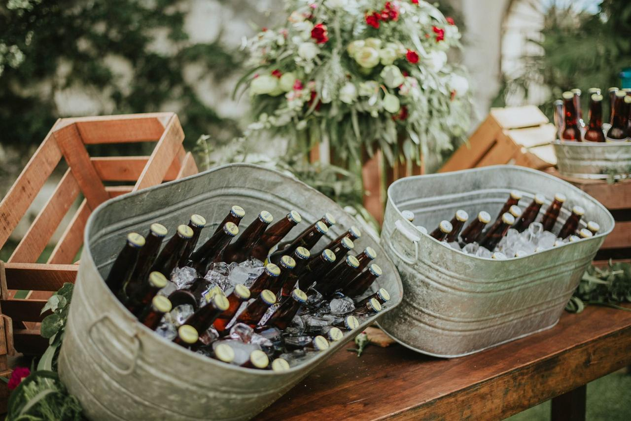 Beer Station With Floral Arrangements