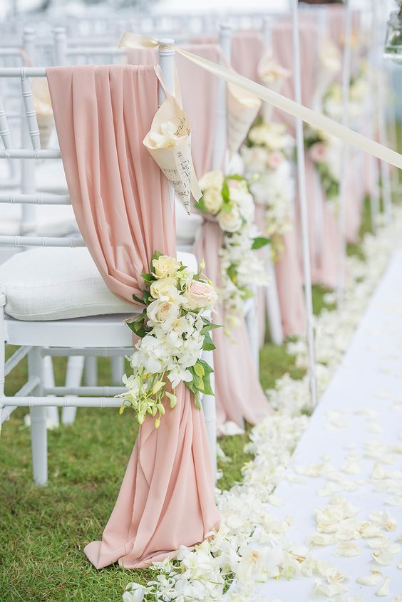 Blush Sash With Chair Corsage For Chair