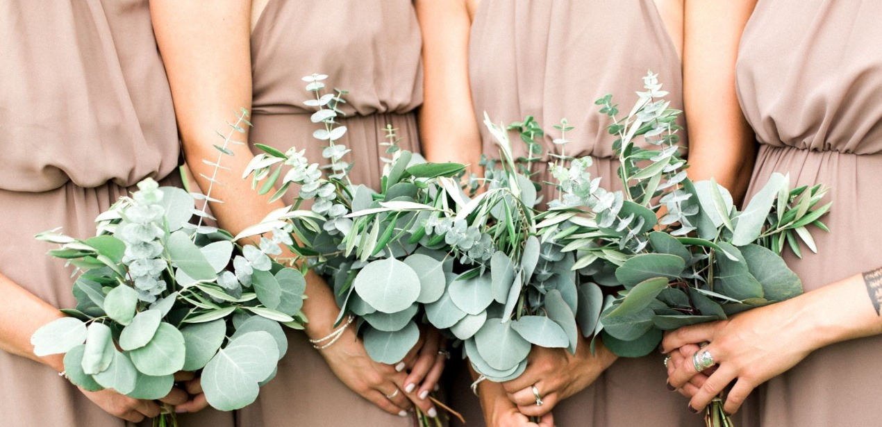 Bridesmaids Eucalyptus And Silver Dollar Bouquet
