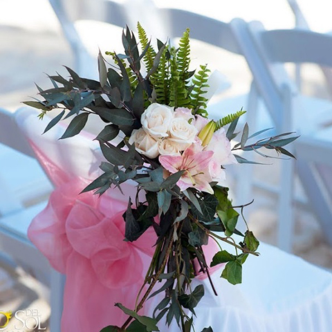 Chair Corsage With Ivy Roses And Foliage   49 Usd Outdoors