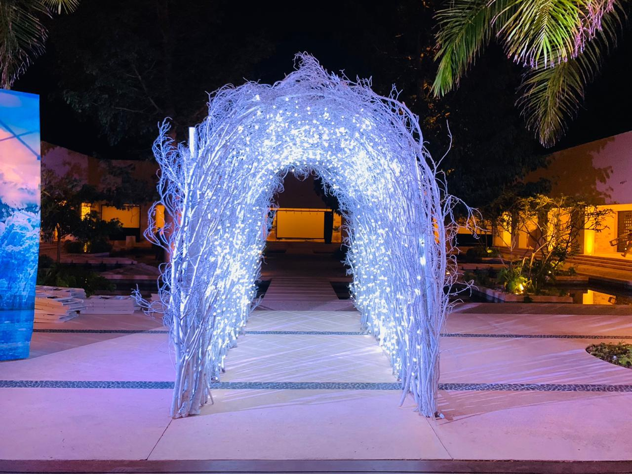 Fairy Lights And Curly Branches Arch For Grand Entrance