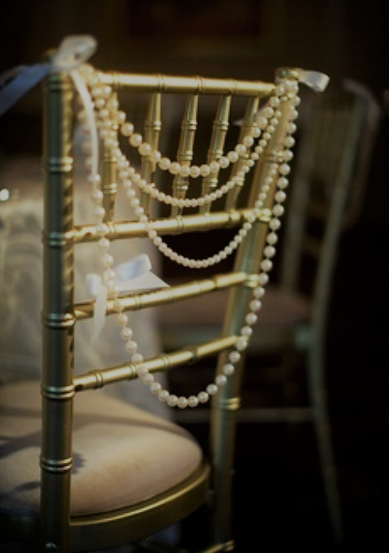 Faux String Pearl Twine In Ivory Color Beads On Tiffany Chair