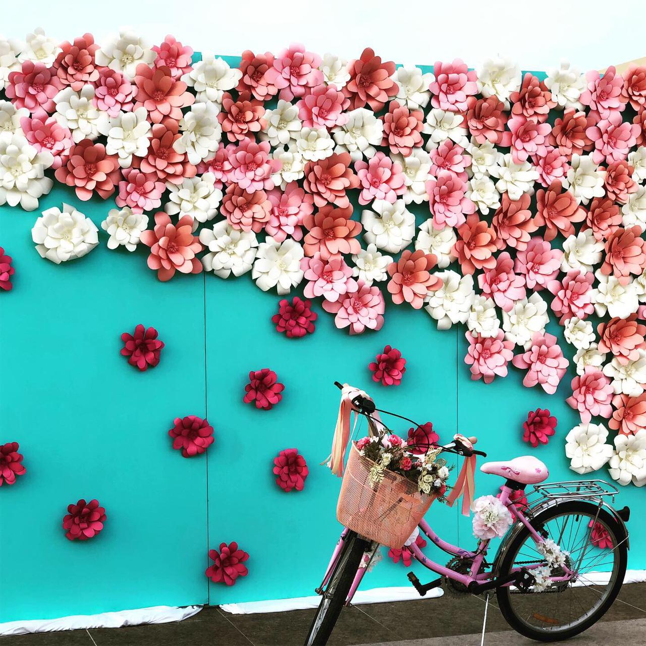 Floral Wall And Bike Backdro