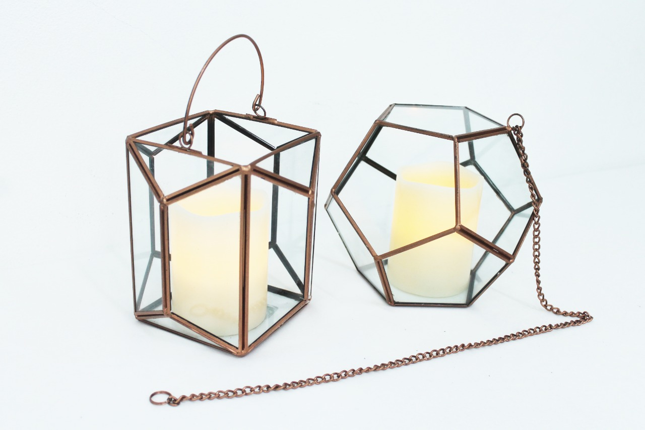 Geo Shapes With Glass And Led Pillar Candles