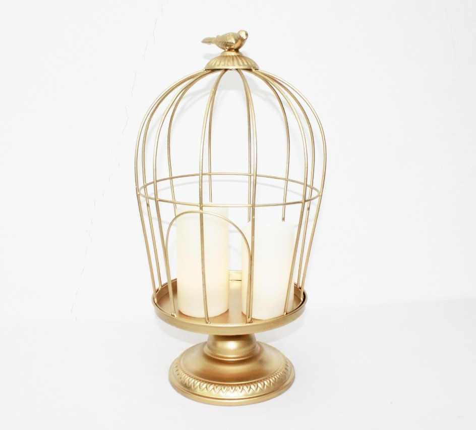 Gold Bird Cage With Led Candle Pillars   5 Pieces