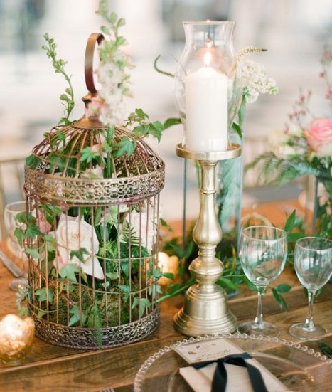 Gold Birdcage With Foliage And Pastel Florals.PNG