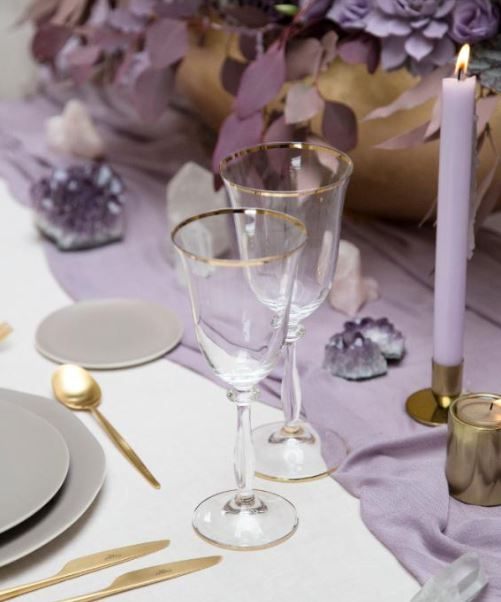 Gold Rim Glass Goblet Gold Flatware.JPG