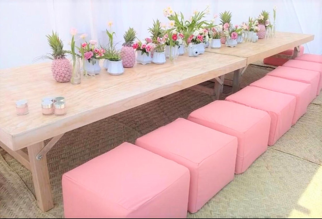 Individual Puff Seats With Low Tables In Light Pink.jfif