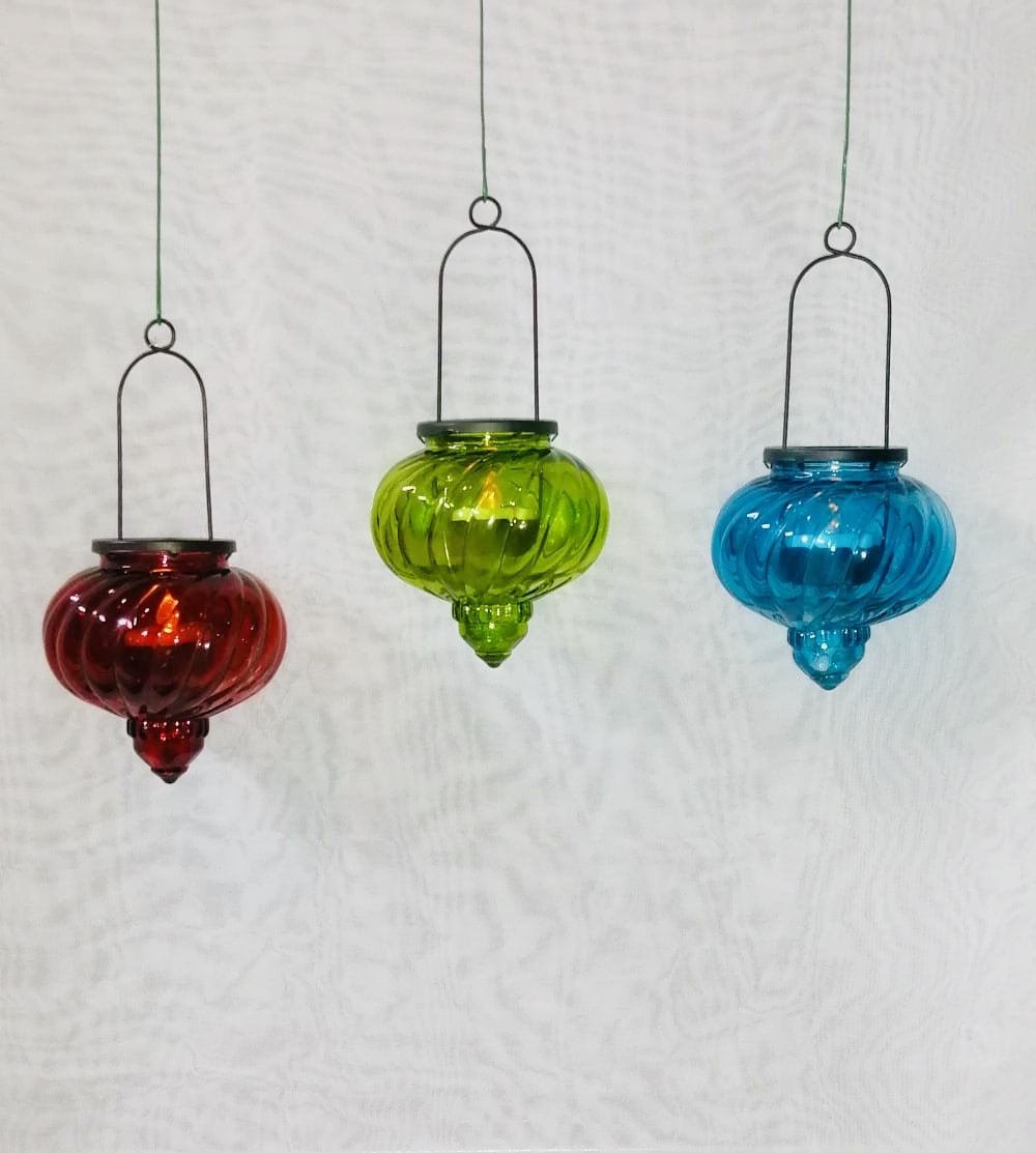Marrakech Style Glass Lamps In Red Green And Blue Colors