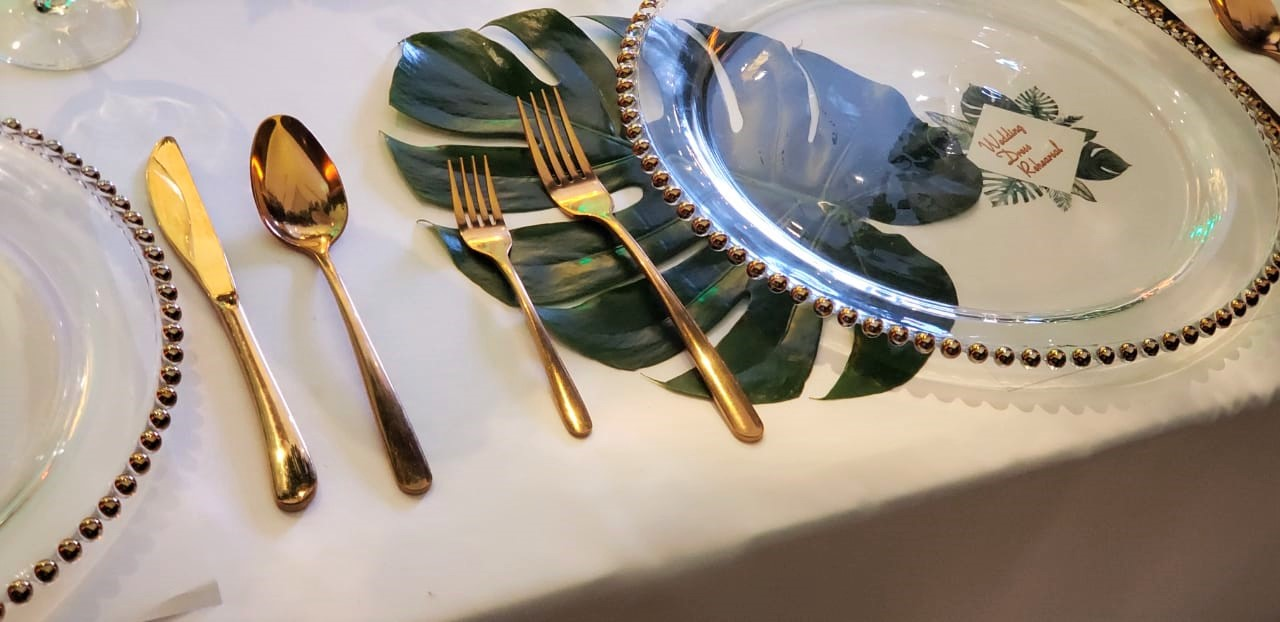 Monstera Leaf And Gold Cutlery