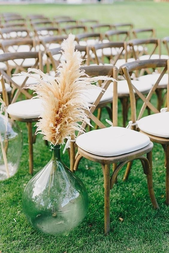 Pampas Grass And Large Blue Vases For Aisle