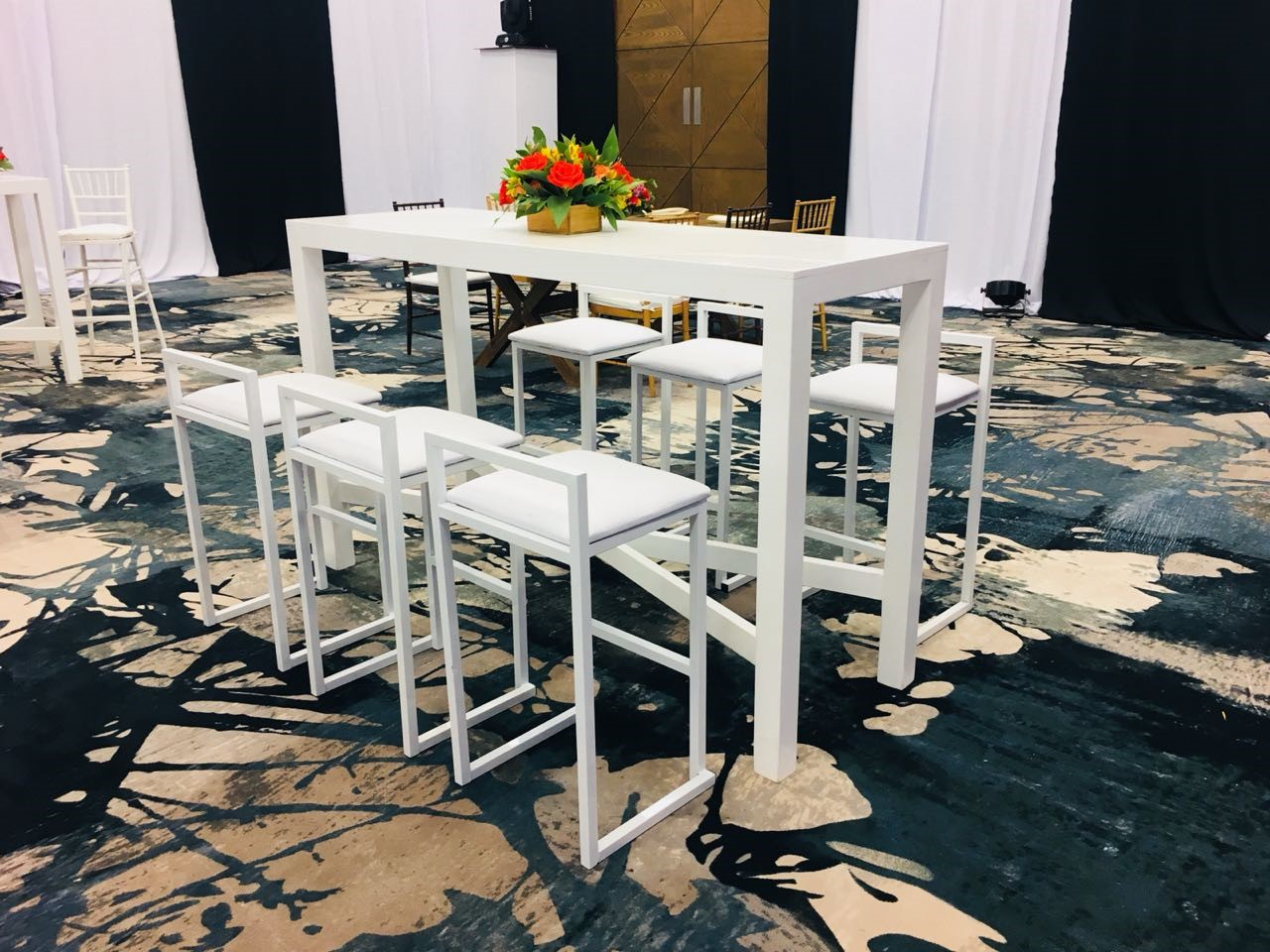 Rectangular White High Top Table And Benches