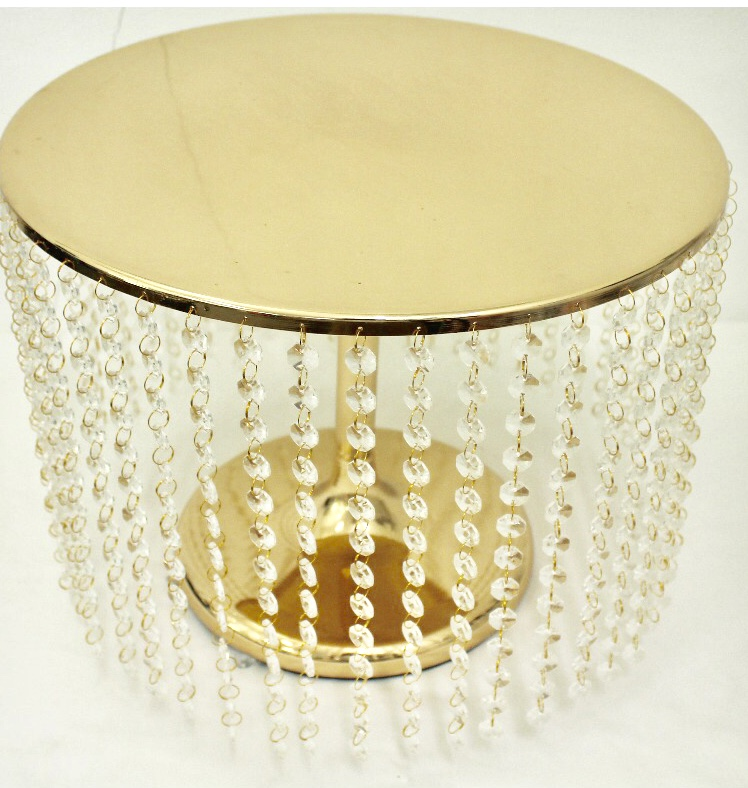 Round Gold Metal Cake Stand With Glass Beading