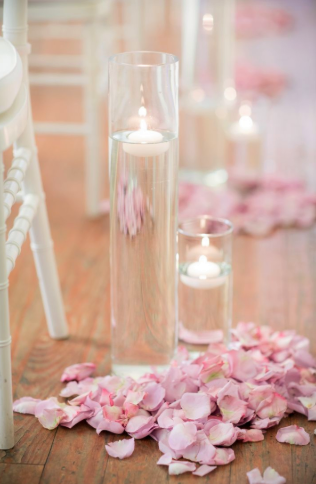 Set Of 2 Glass Cylinders With Floating Candle And Rose Petals In The Color Of Your Choice