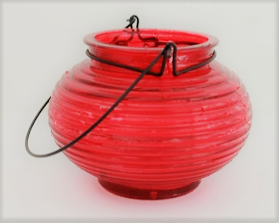 Small Red Glass Lantern With Led Votive.png