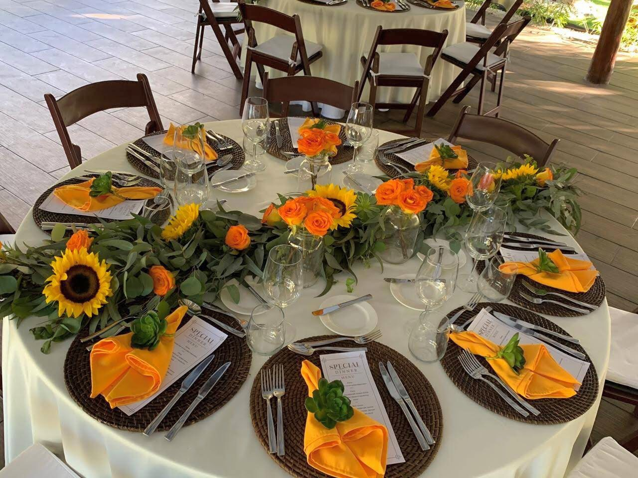 Sunflowers Eucalyptus Roses Garland For Round Table
