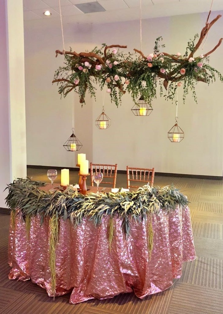 Sweetheart Table With Hanging Geo Spheres