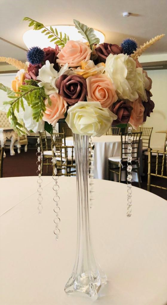 Tall Glass Vase With Faux Florals
