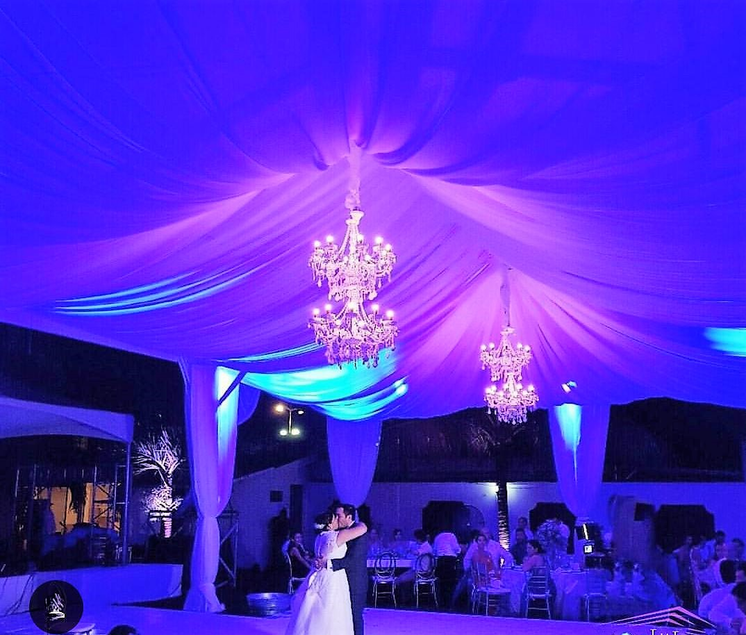 Tent With Drapes And Chandelier