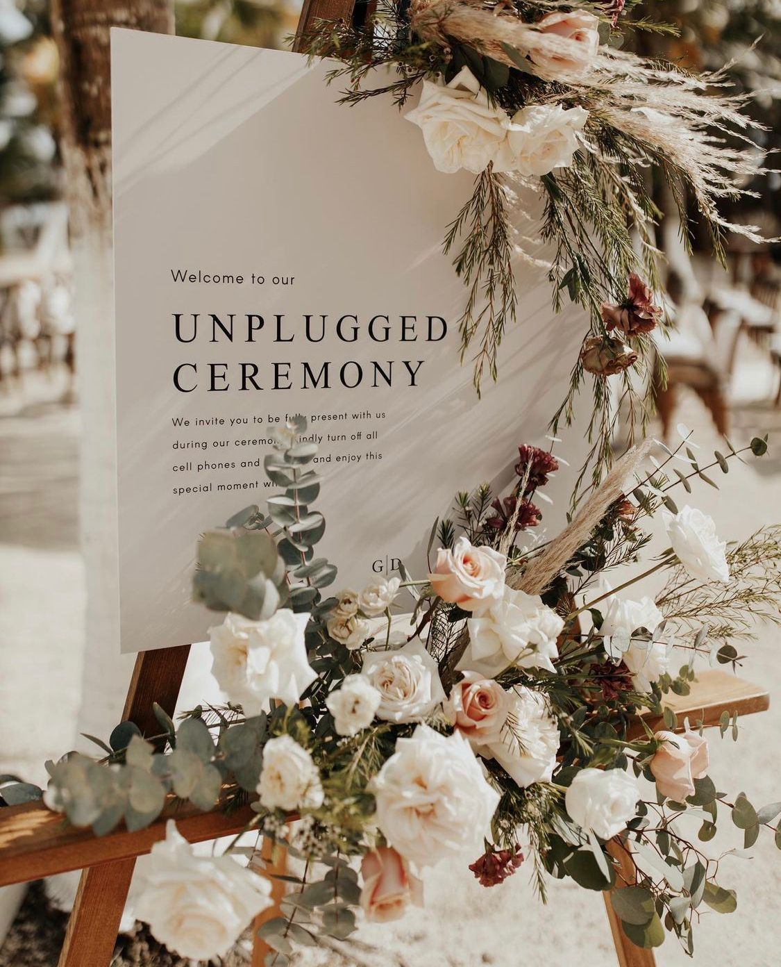 Unplugged Ceremony Floral Sign With Aisle