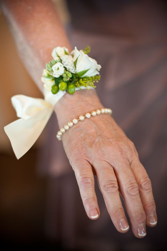 Weddings Wrist Corsage Tied With Satin Ribbon